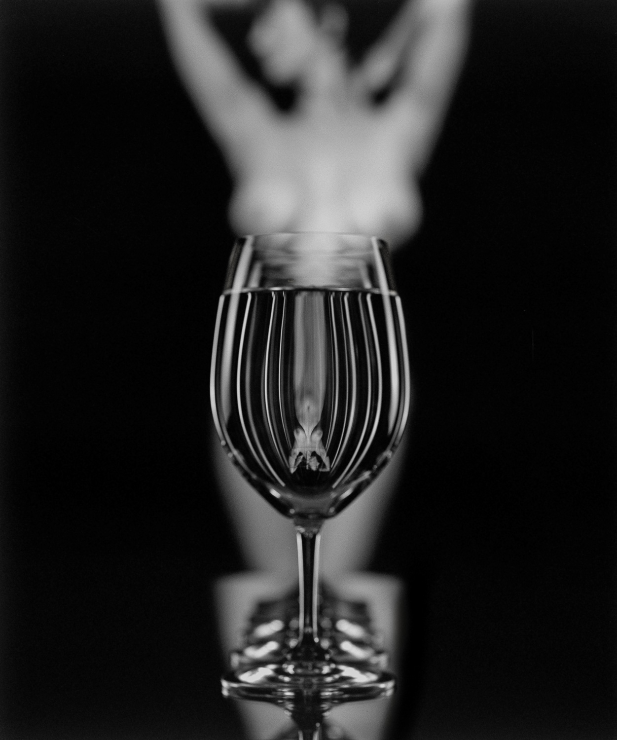 Black and white nudes, fine art photography, nude art prints, bw fine art, refraction, reflection, in glass, wine, feminin, breasts, abstract, art nudes